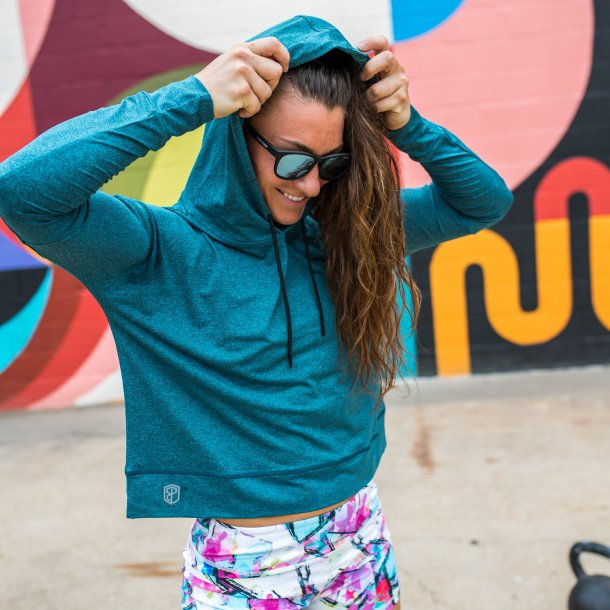 Crop It Like Its Hot Lightweight Hoodie (Heather Dark Teal)