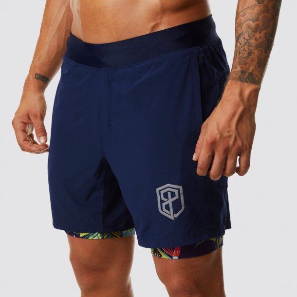 The Versatile Shorts (Navy Blue w/ Tropical Time Compression Liner)