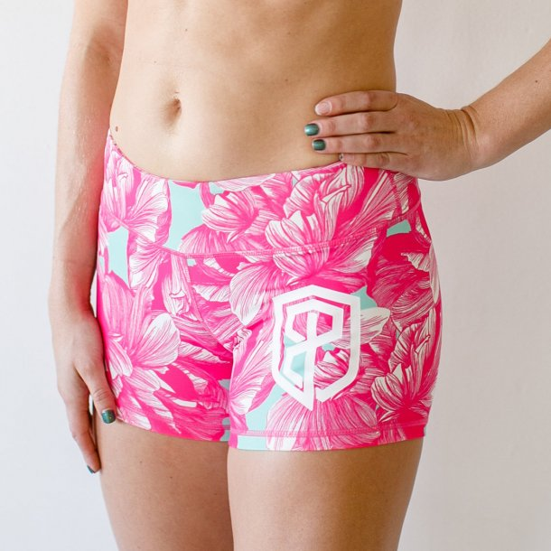 Double Take Booty Shorts (Mint Hibiscus)