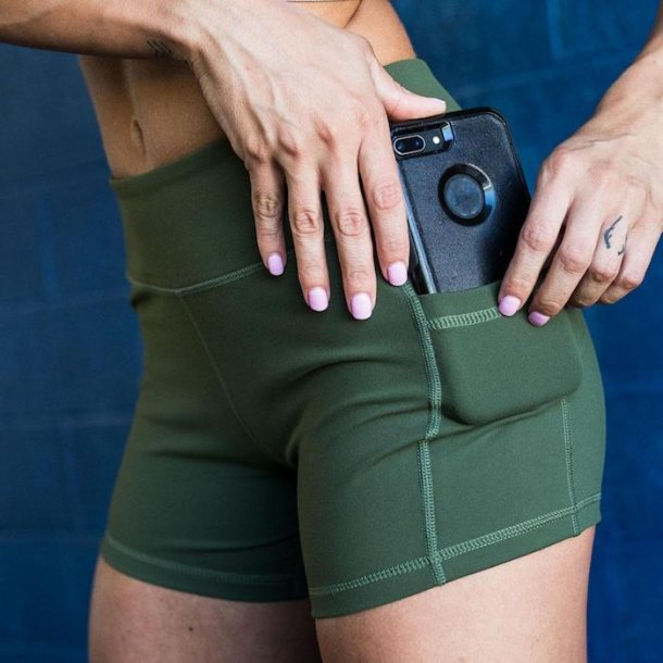 Rise & Grind Booty Shorts (Tactical Green)